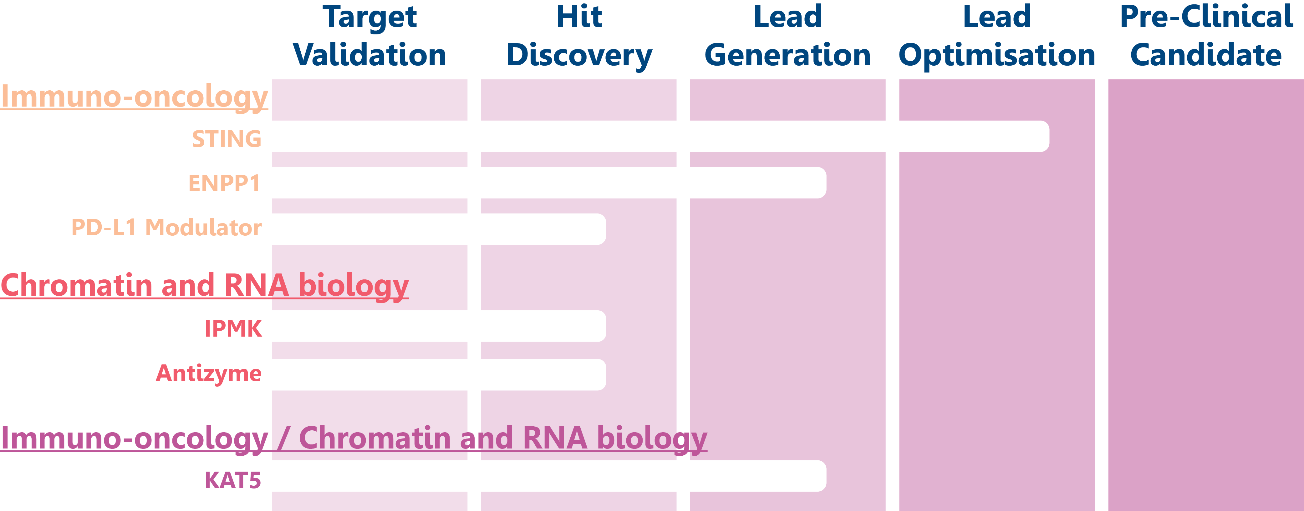Diagram outlining current cancer research projects and their milestones